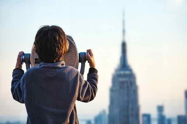 city, view, person