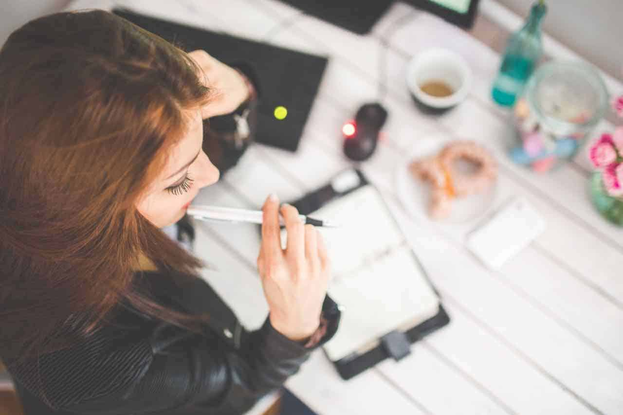 woman, plan, pen, desk