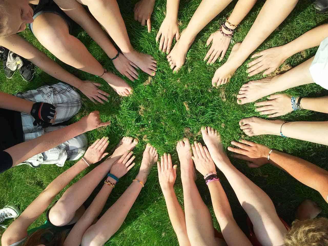 hands, help,serve, grass