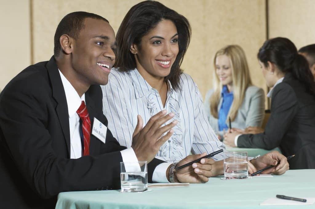 man, woman, boardroom